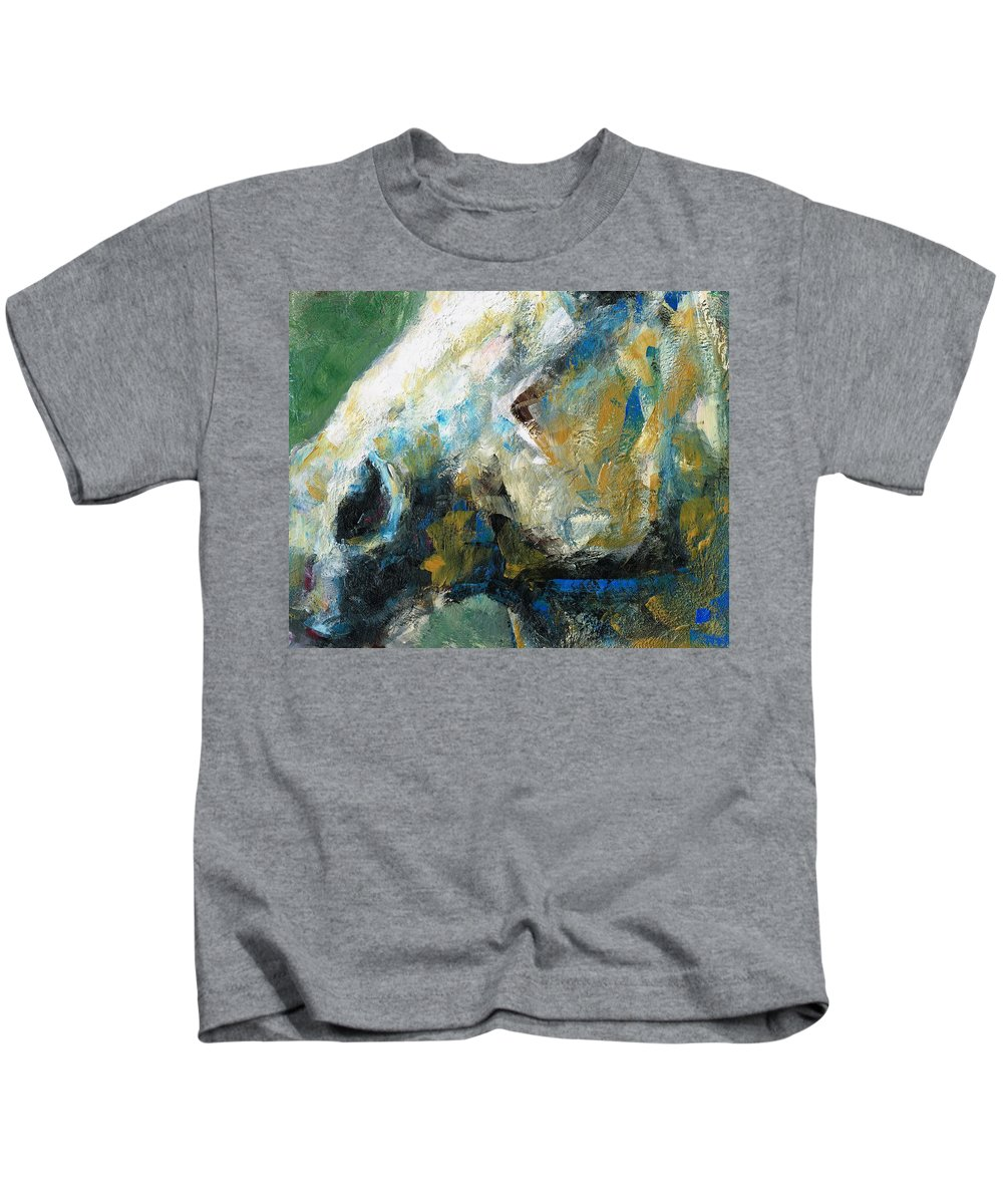Horses Kids T-Shirt featuring the painting Alerted by Frances Marino