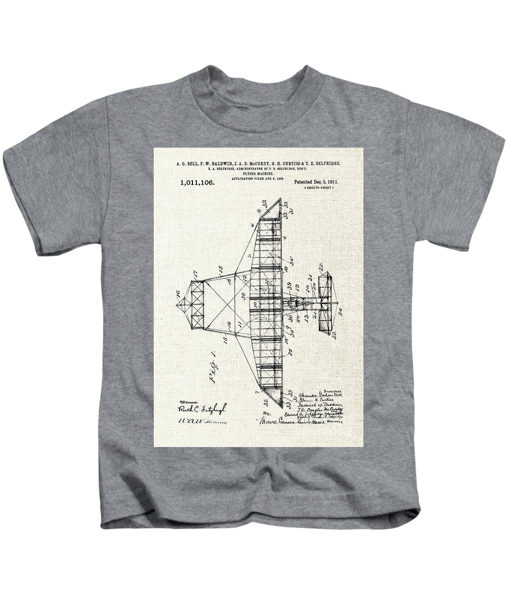 Airplane Patent Print Kids T-Shirt featuring the mixed media Alexander Graham Bell Airplane Patent Print, Plane Patent Blueprint by Kithara Studio