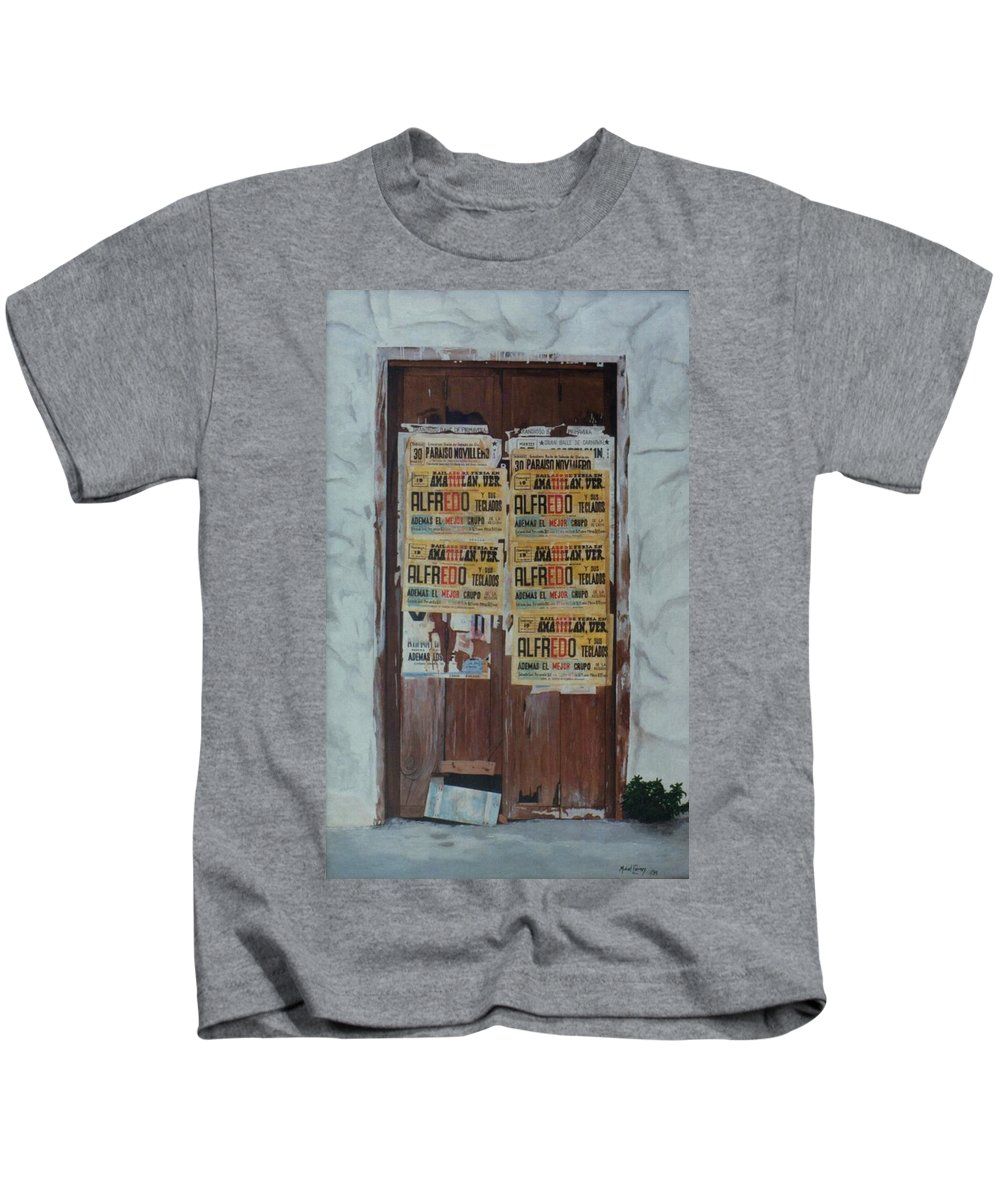 Hyperrealism Kids T-Shirt featuring the painting Alfredo, Alfredo by Michael Earney