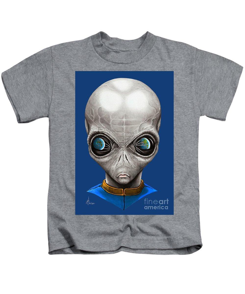 Alien Kids T-Shirt featuring the drawing Alien From Space by Murphy Elliott