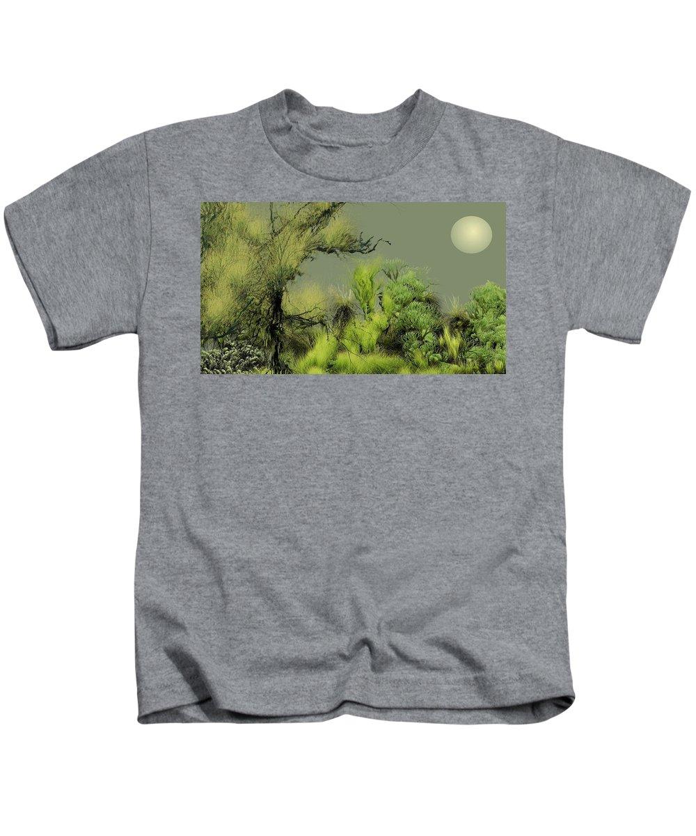 Digital Fantasy Painting Kids T-Shirt featuring the digital art Alien Garden 2 by David Lane