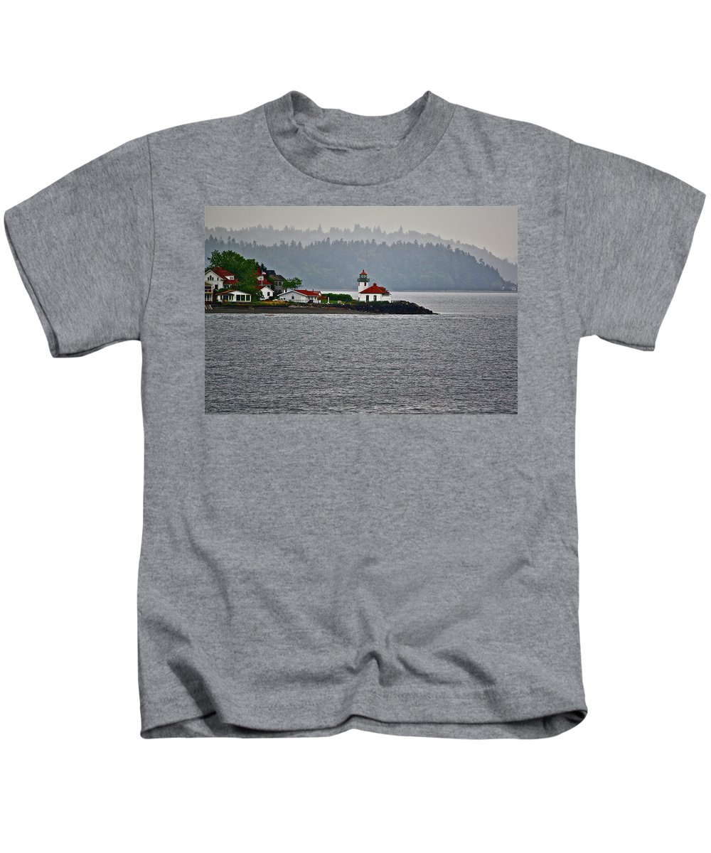 Lighthouse Kids T-Shirt featuring the photograph Alki Point by Diana Hatcher