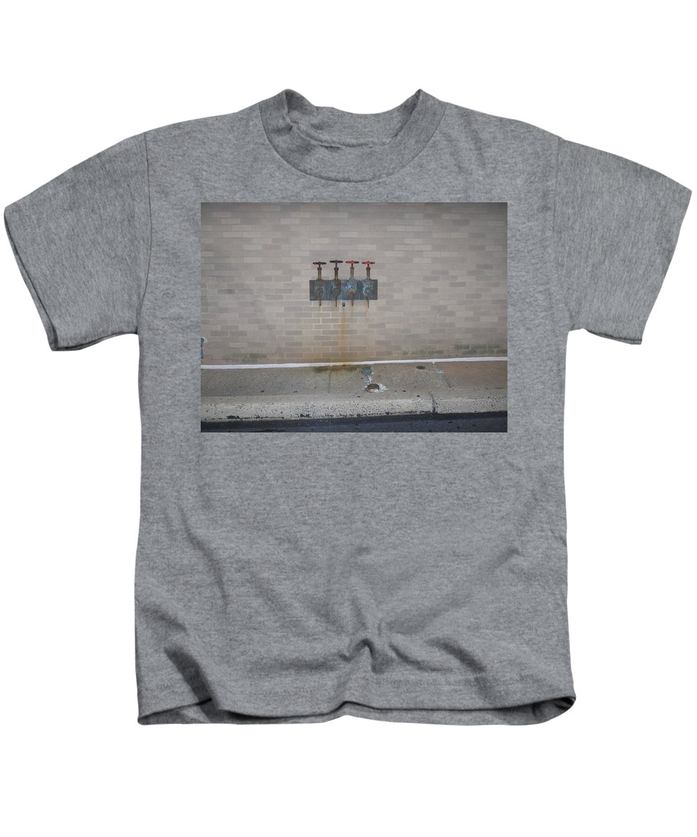 Photograph Kids T-Shirt featuring the photograph All Alone Four Pipes by Thomas Valentine