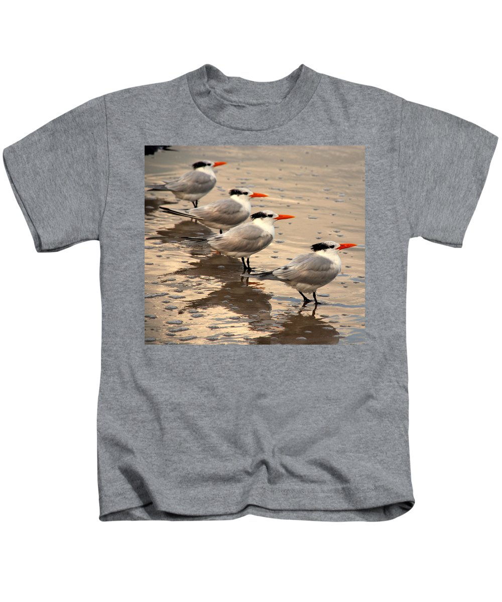 Wildlife Kids T-Shirt featuring the photograph All Lined Up by Susanne Van Hulst