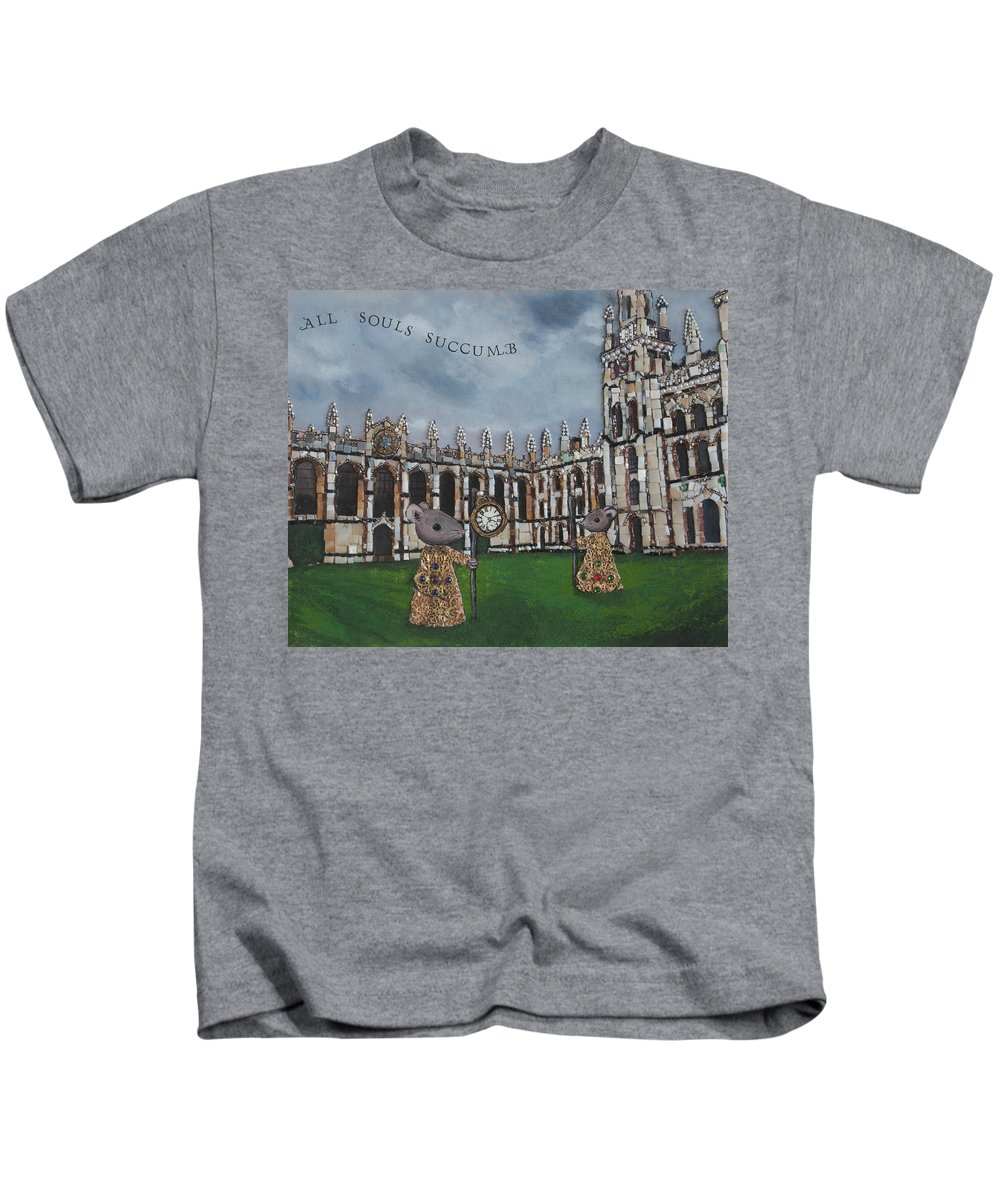 Mosaic Kids T-Shirt featuring the mixed media All Souls Succumb by Pauline Lim