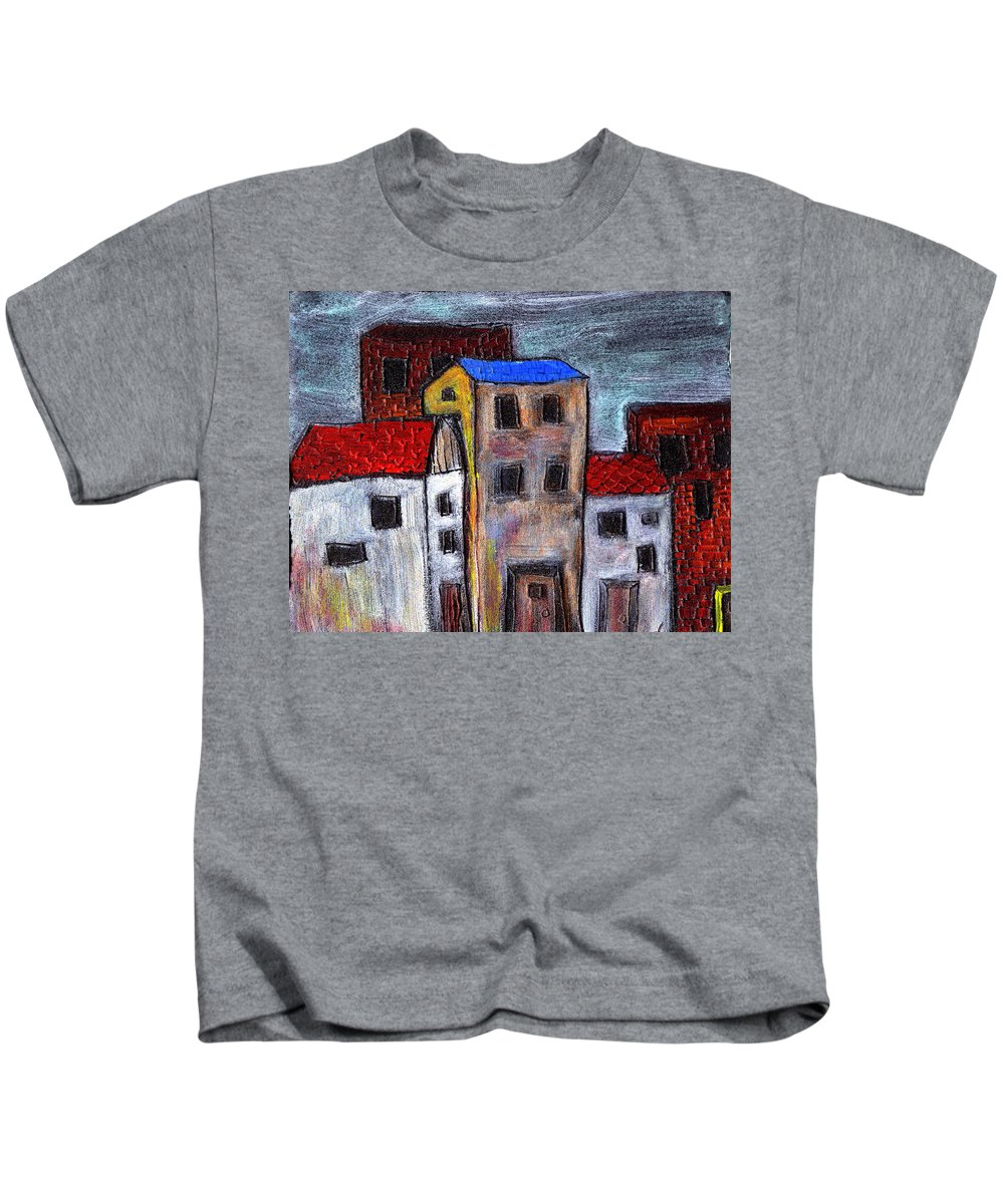 City Scene Kids T-Shirt featuring the painting Alley Doors by Wayne Potrafka