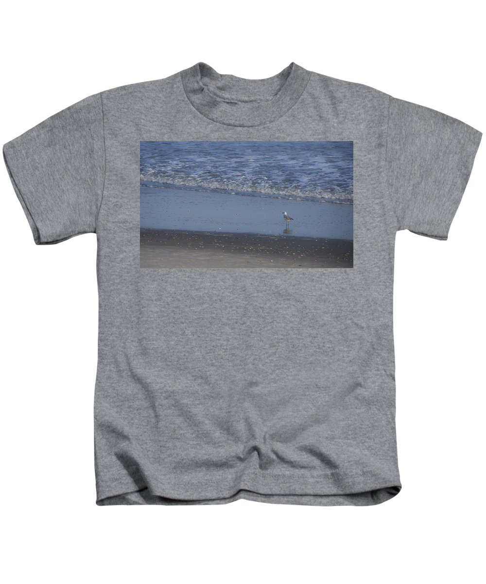 Ocean Kids T-Shirt featuring the photograph Alone In The Sand by Teresa Mucha