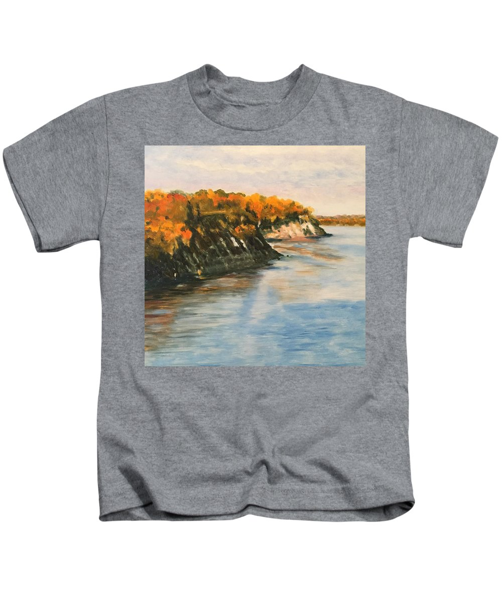Landscape Kids T-Shirt featuring the painting Along The Chesapeake Bay by Heike Gramckow