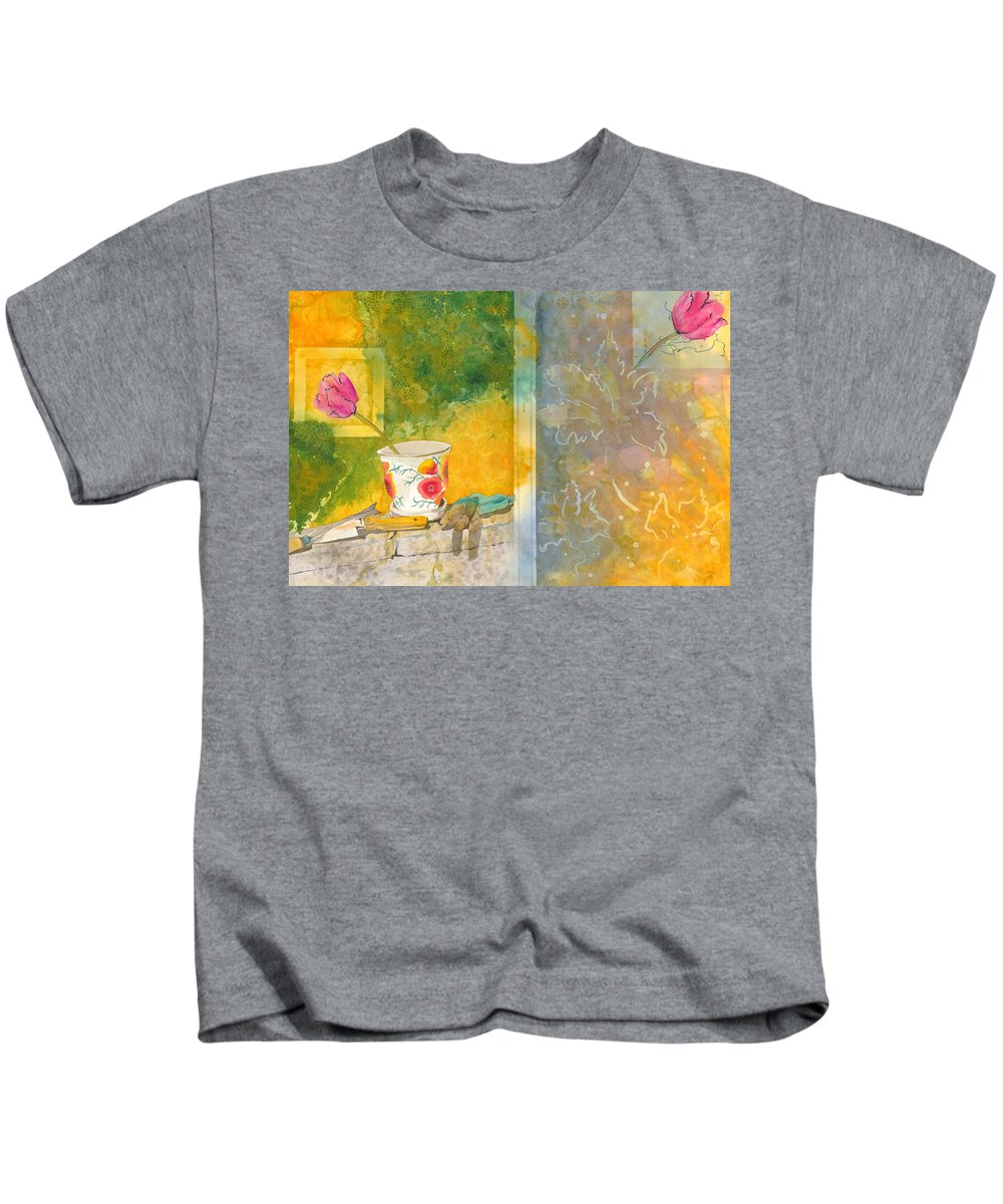 Garden Kids T-Shirt featuring the painting Along The Garden Wall by Jean Blackmer