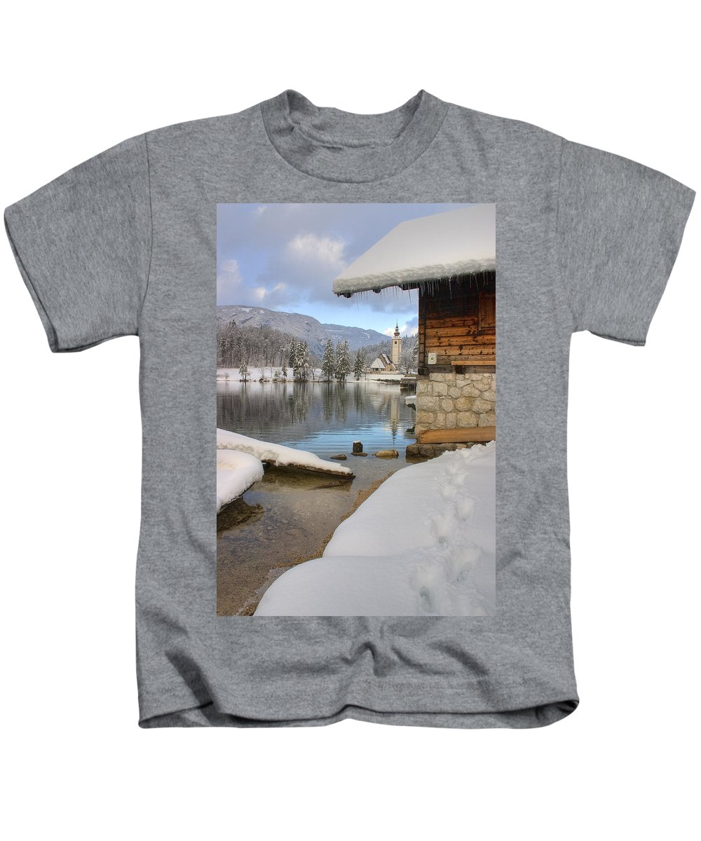 Bohinj Kids T-Shirt featuring the photograph Alpine Winter Clarity by Ian Middleton