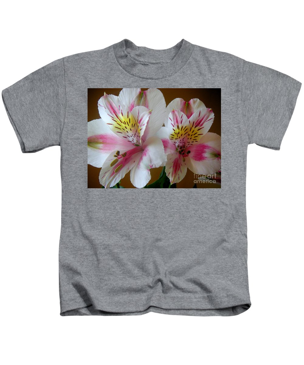 Nature Kids T-Shirt featuring the photograph Alstroemerias - Heralding by Lucyna A M Green