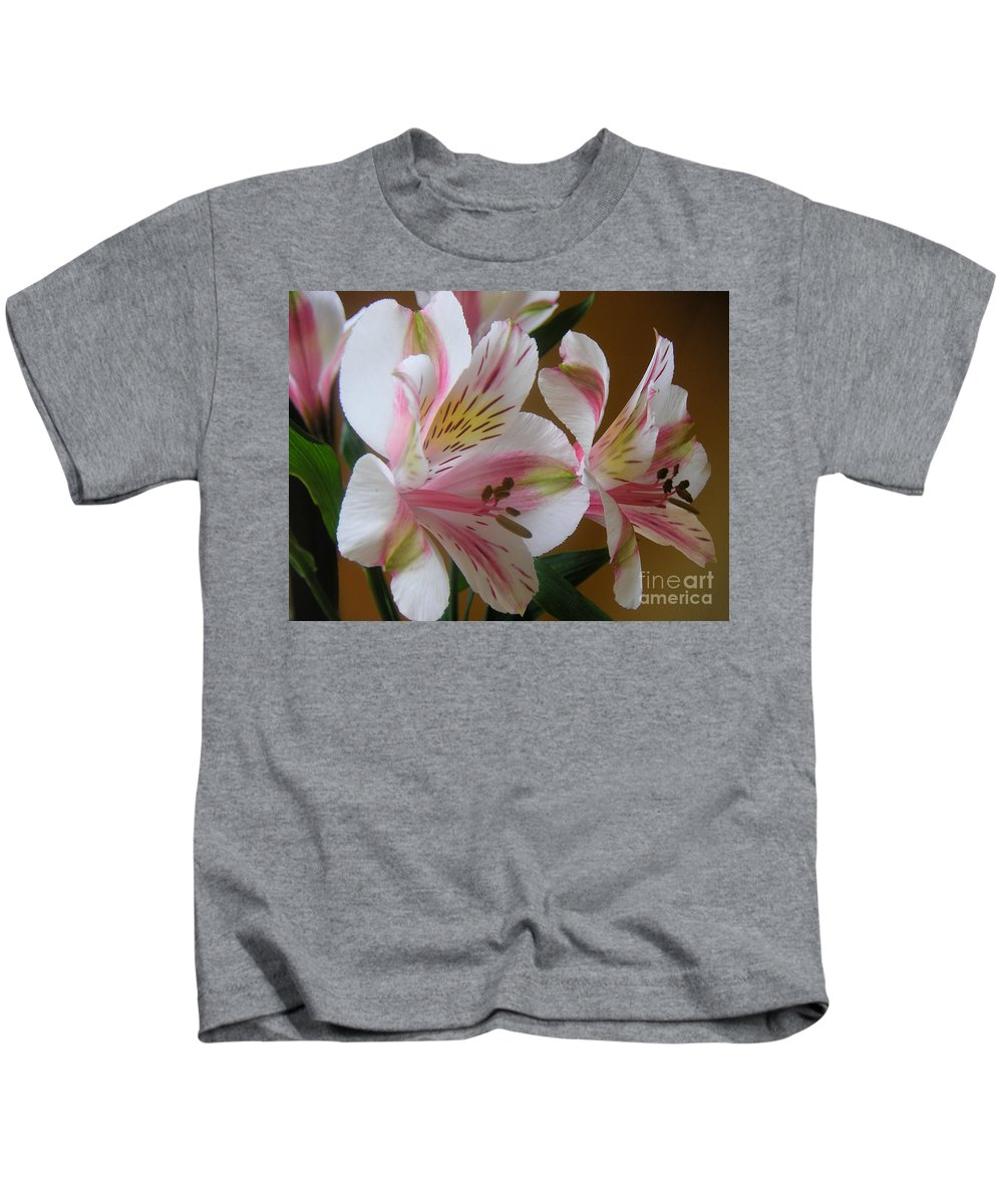 Nature Kids T-Shirt featuring the photograph Alstroemerias - Listening by Lucyna A M Green