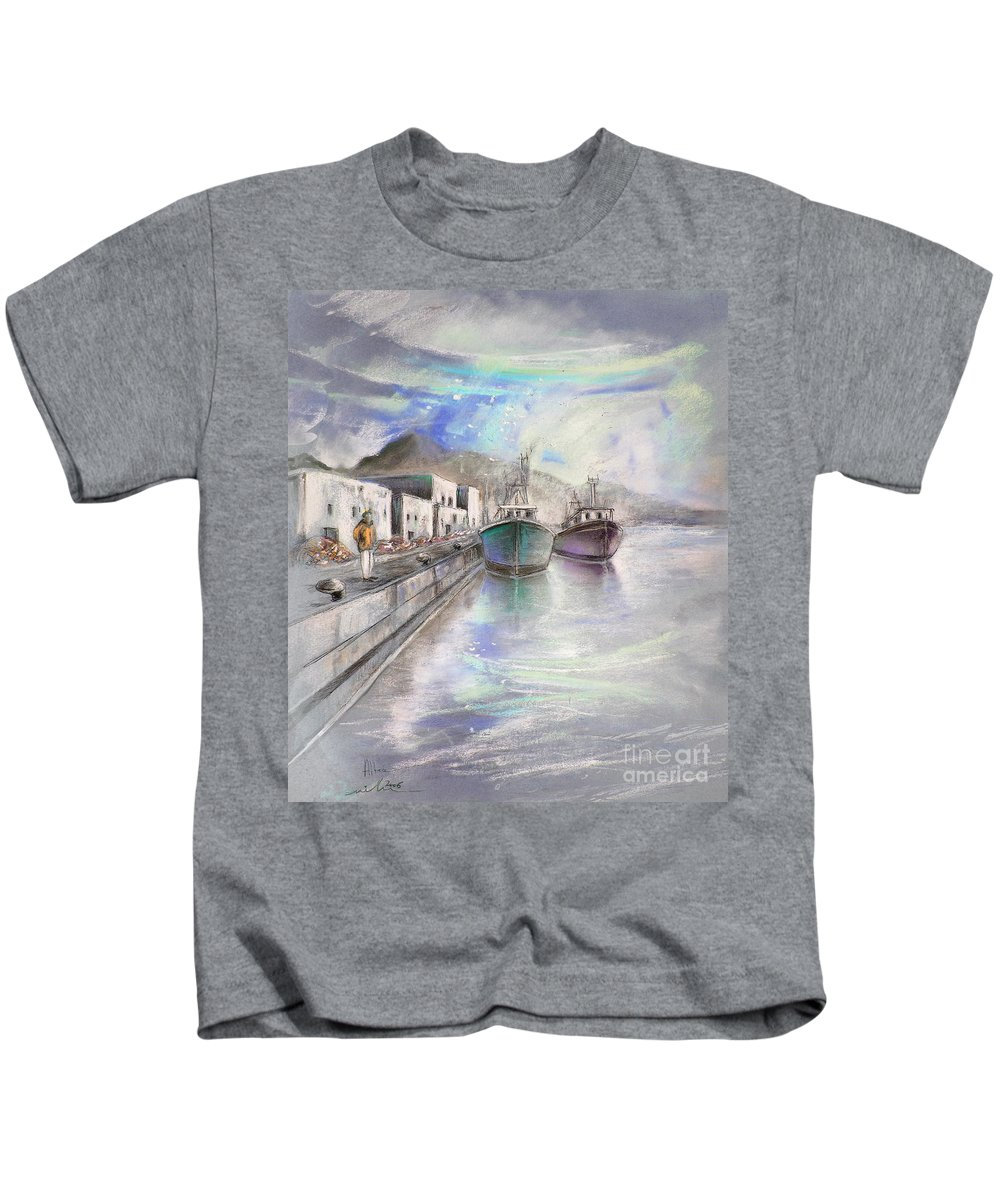 Altea Lanscape Kids T-Shirt featuring the painting Altea Harbour On The Costa Blanca 01 by Miki De Goodaboom