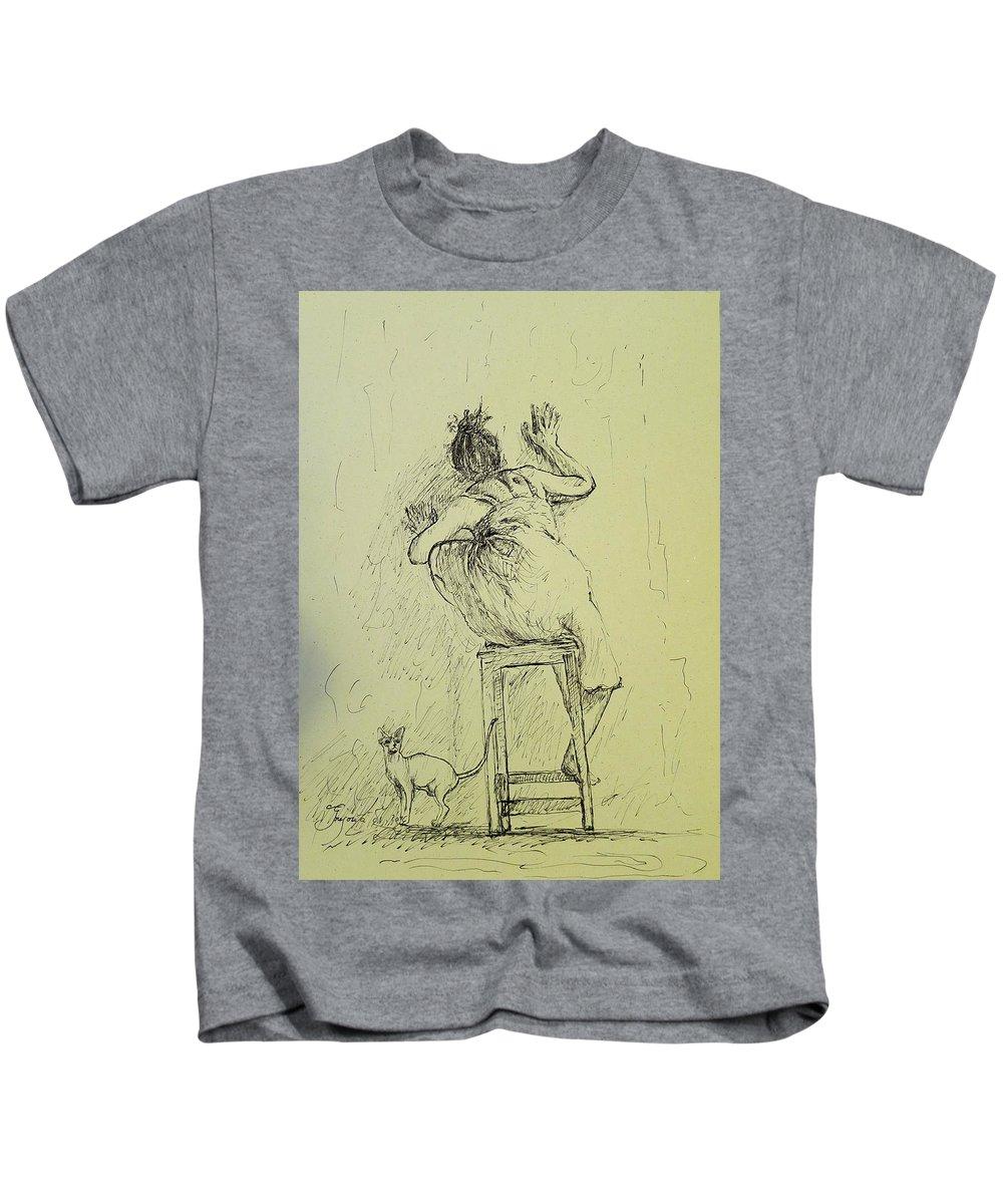 Cat Kids T-Shirt featuring the drawing Alternative Death by Grigorita Martina