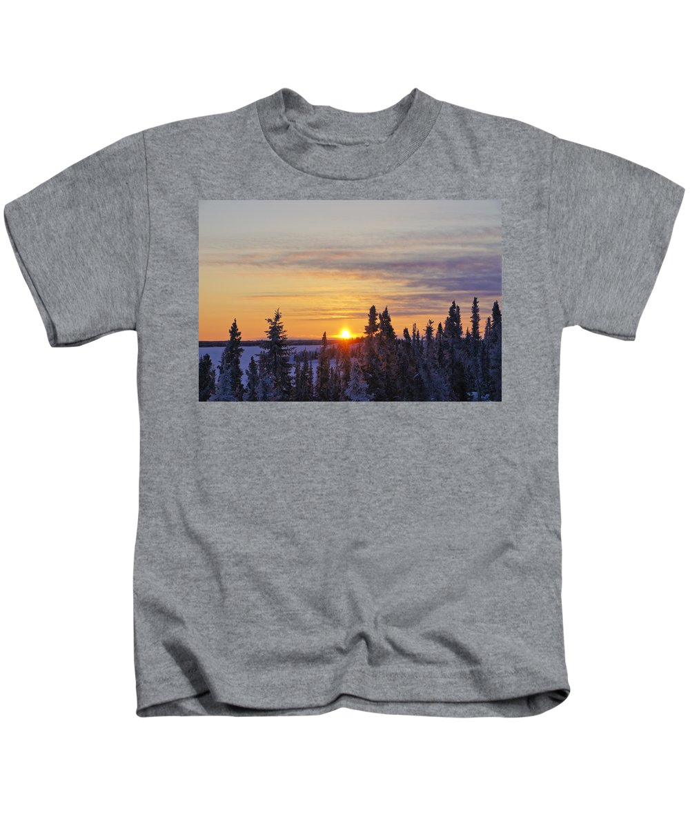 Snow Kids T-Shirt featuring the photograph Amazing Winter Sunrise by Brian Kamprath