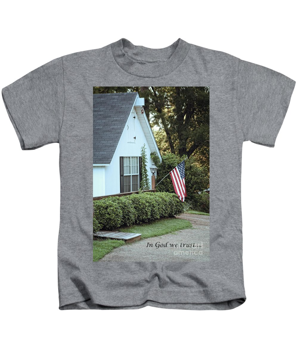 America Kids T-Shirt featuring the photograph America - In God We Trust by Ella Kaye Dickey