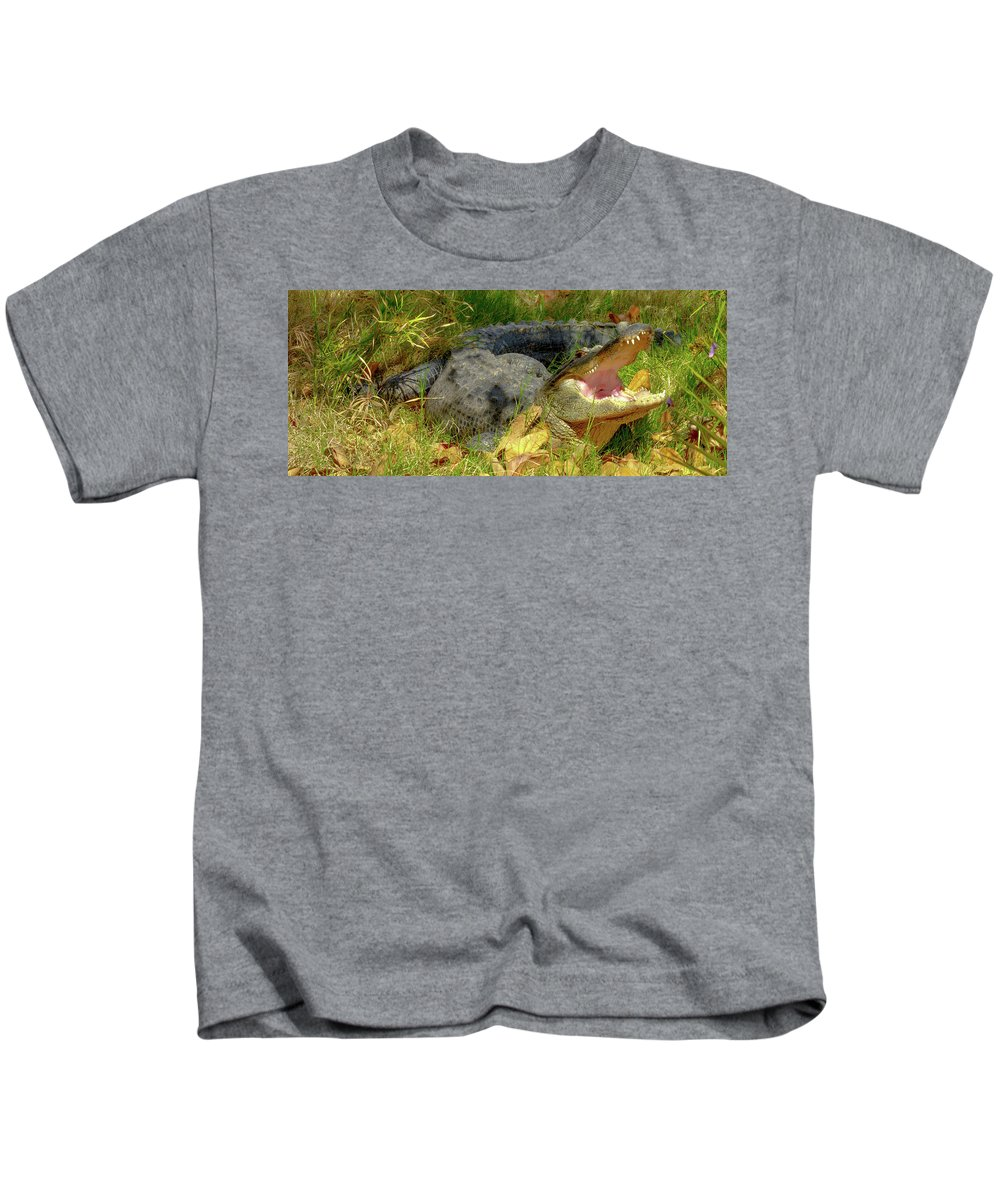 #orcinusfotograffy #arizona #phoenix #zoo #alligator #nature #colors #teeth Kids T-Shirt featuring the photograph American Alligator Arizona Chapter by Kimo Fernandez