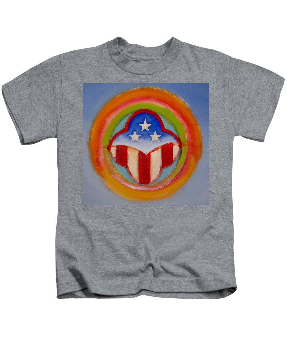 Logo Kids T-Shirt featuring the painting American Three Star Landscape by Charles Stuart
