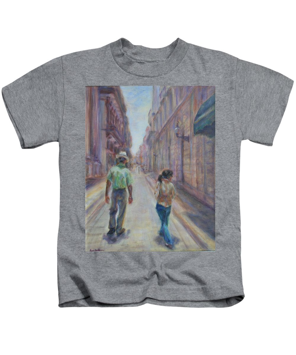 Quin Sweetman Kids T-Shirt featuring the painting Amigos En Havana by Quin Sweetman