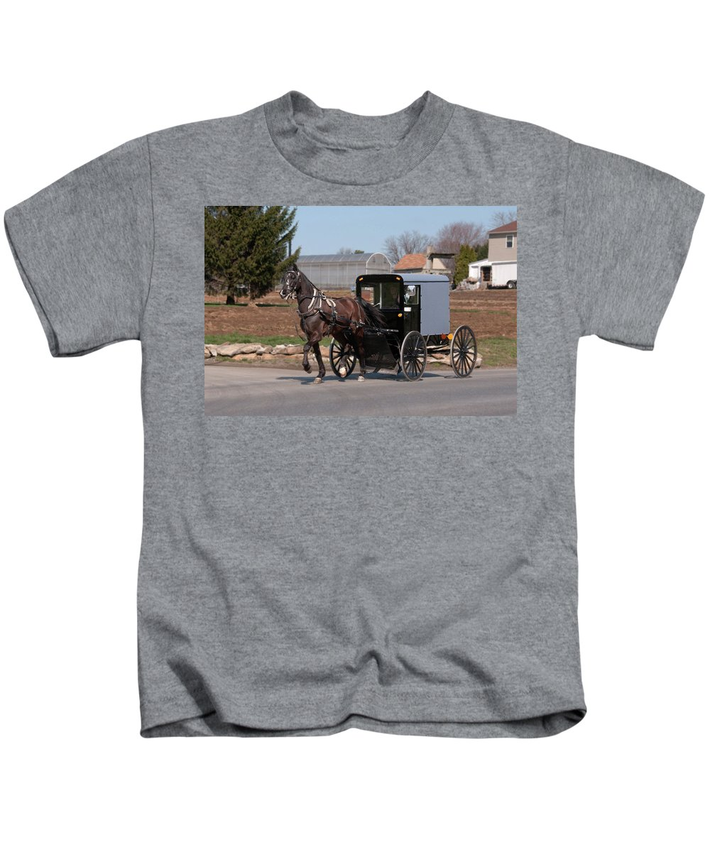 Amish Kids T-Shirt featuring the photograph Amish Buggy And High Stepper by David Arment