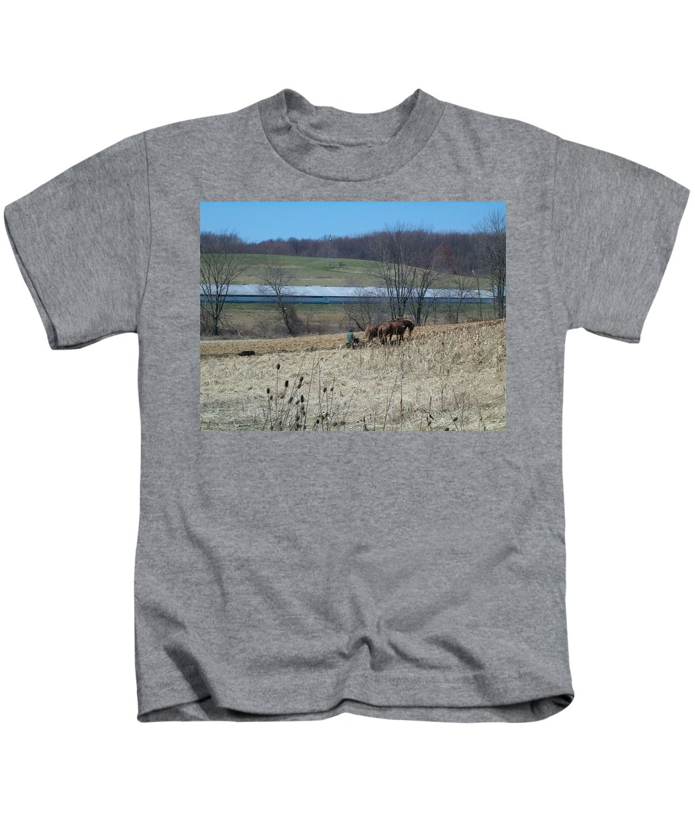 Plow Horse Kids T-Shirt featuring the photograph Amish Farming by Sara Raber