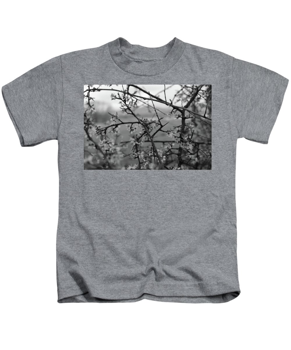 Black And White Kids T-Shirt featuring the photograph Among The Flowers by Erin Donalson