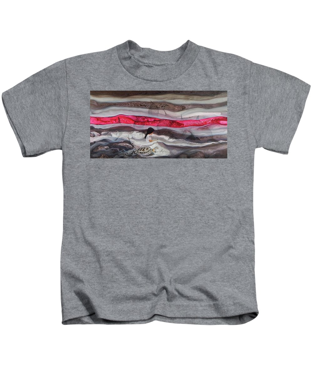 Abstract Kids T-Shirt featuring the painting Amor Incondicional II by Angel Ortiz