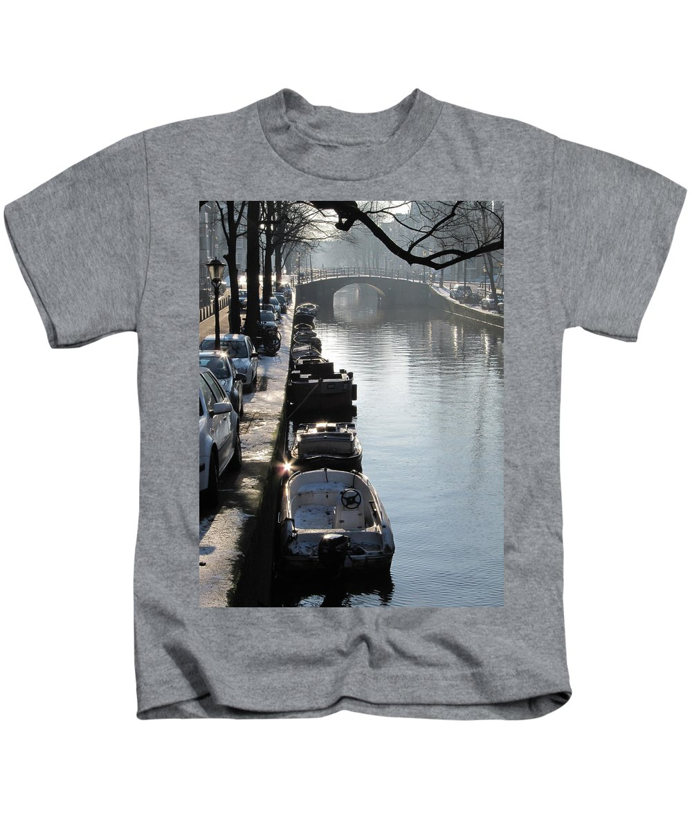 Winter Kids T-Shirt featuring the photograph Amsterdam Canal In Winter by Casper Cammeraat
