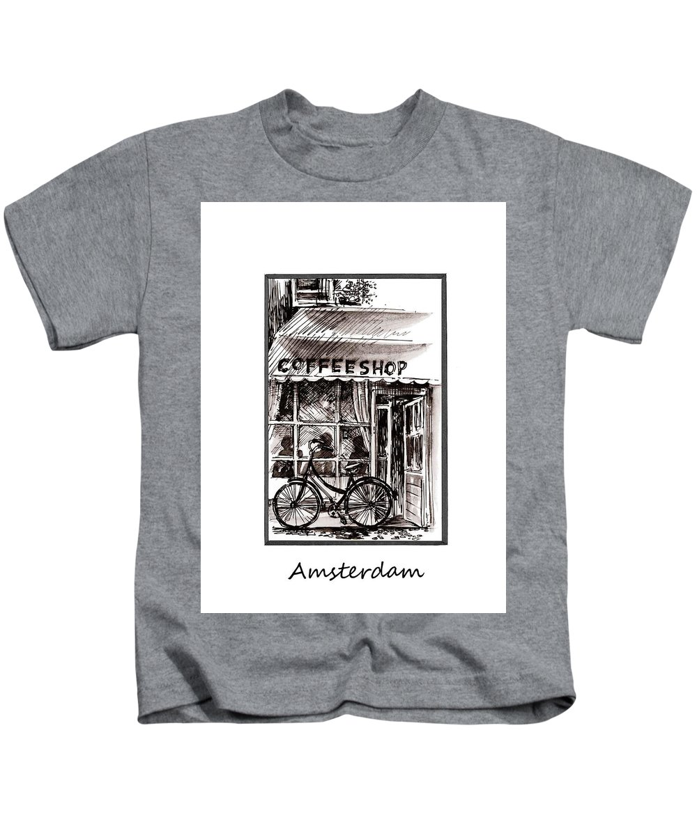 Watercolor Kids T-Shirt featuring the painting Amsterdam Coffe Shop Black And White by Georgi Charaka