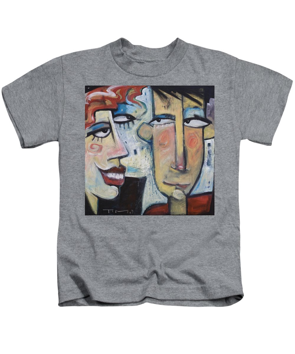 Man Kids T-Shirt featuring the painting An Uncomfortable Attraction by Tim Nyberg