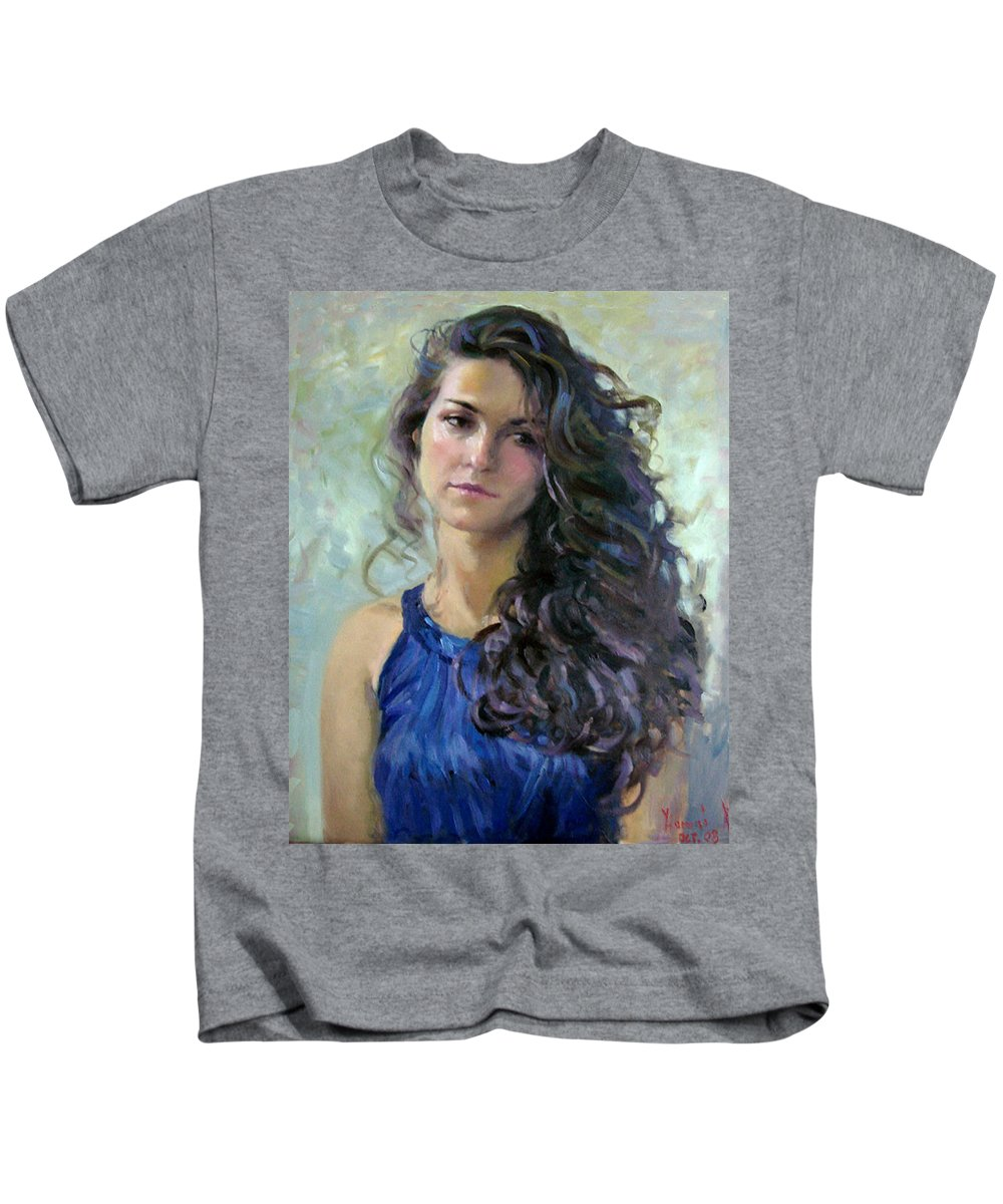 Portrait Kids T-Shirt featuring the painting Ana by Ylli Haruni