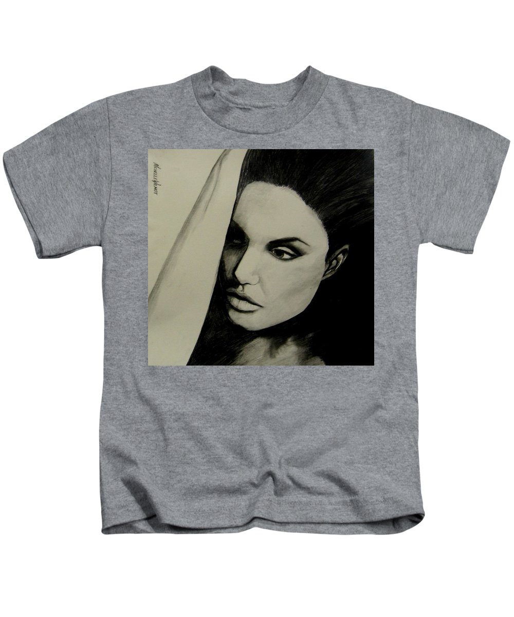 Black And White Kids T-Shirt featuring the drawing Angelina by Michelle Dallocchio