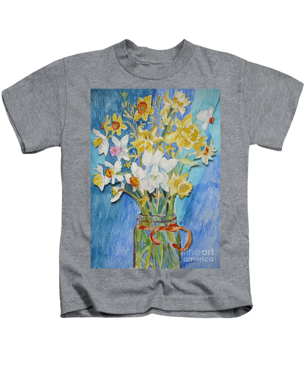 Flowers Kids T-Shirt featuring the painting Angels Flowers by Jan Bennicoff