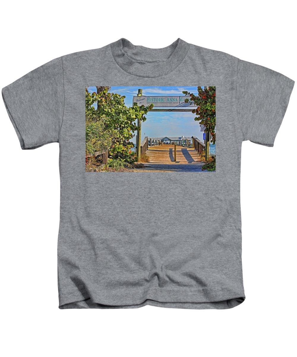 Anna Maria City Pier Kids T-Shirt featuring the photograph Anna Maria City Pier Landmark by HH Photography of Florida