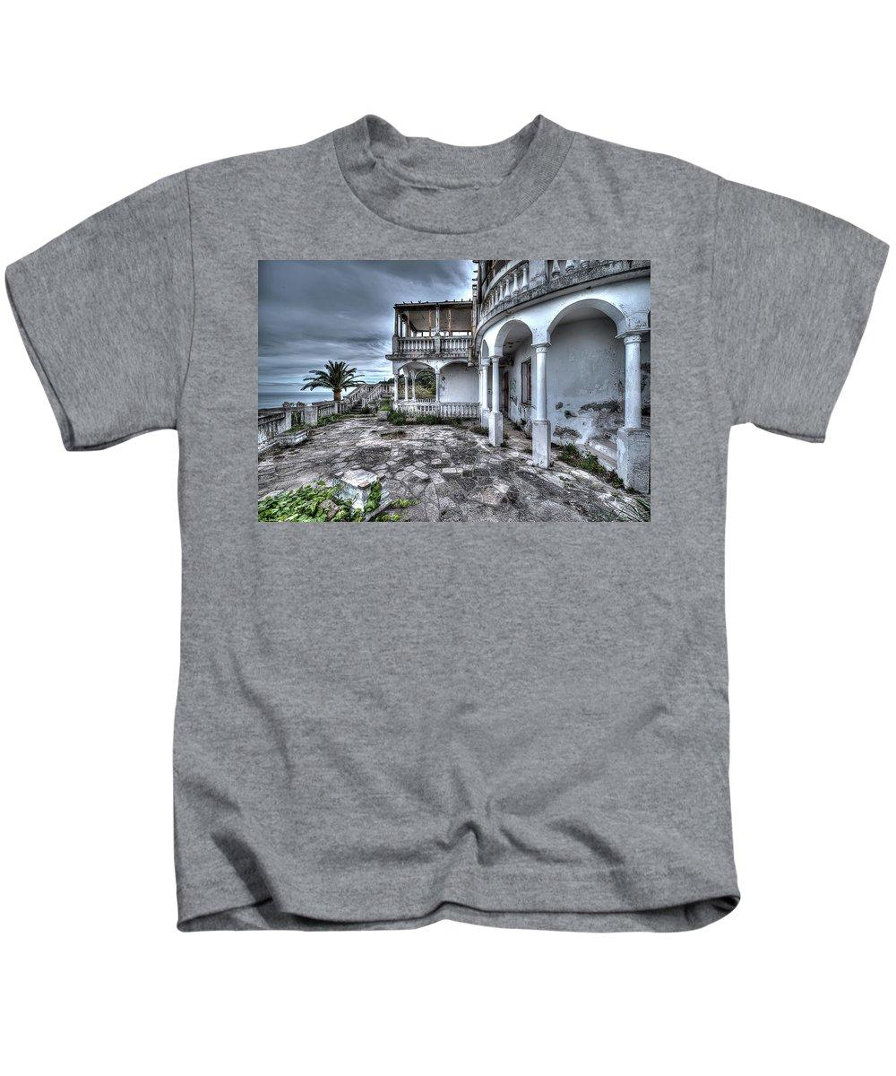 Luoghi Abbandonati Kids T-Shirt featuring the photograph Antichi Fasti - Ancient Splendour by Enrico Pelos