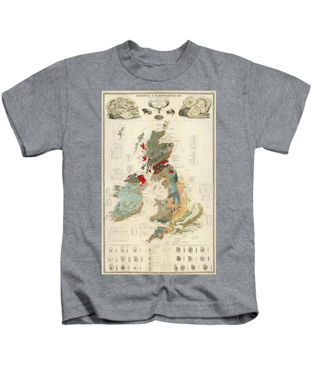 Antique Geographical And Palaeontological Map Of British Islands Kids T-Shirt featuring the drawing Antique Maps - Old Cartographic Maps - Antique Geological Map Of The British Islands by Studio Grafiikka