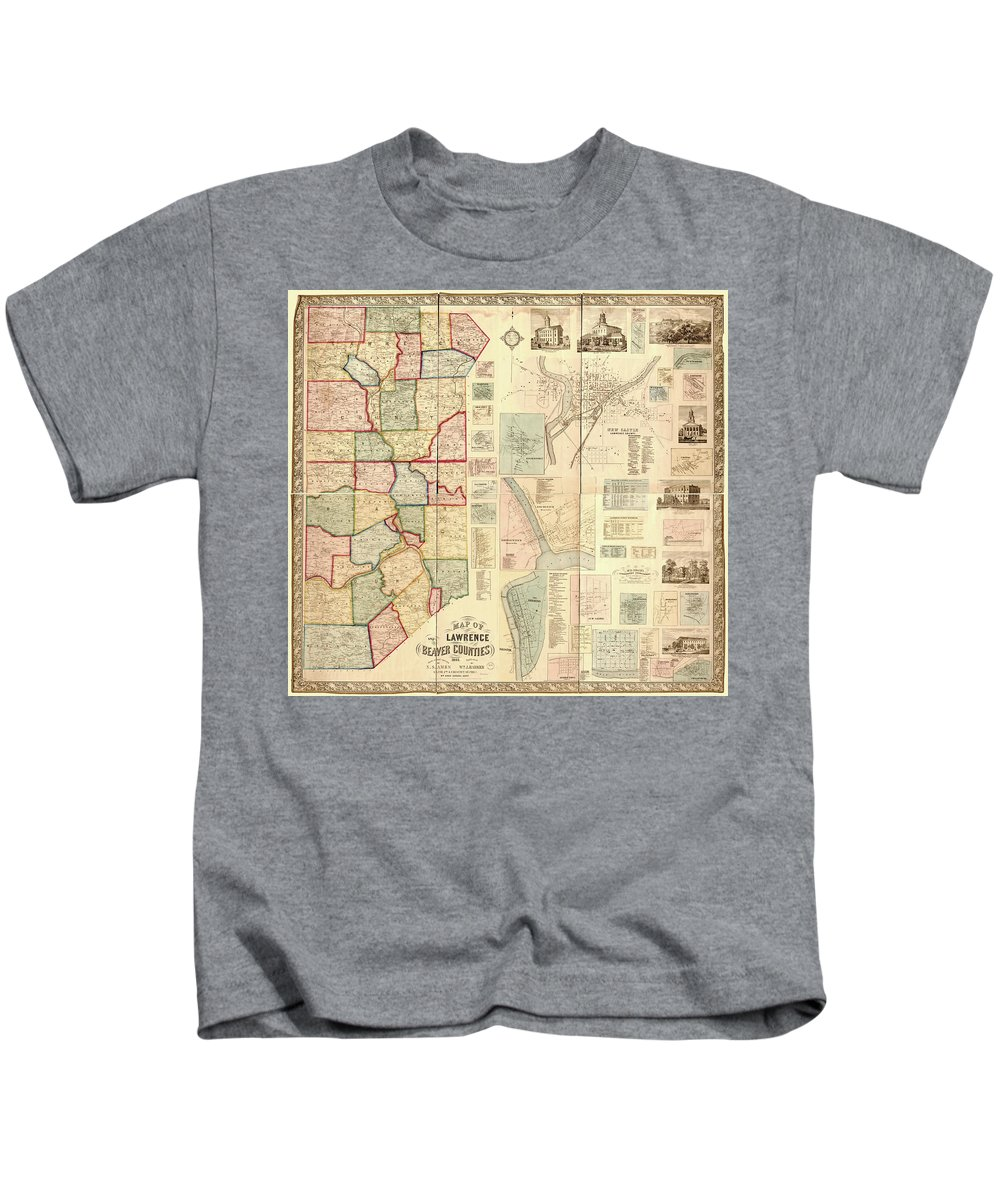 Antique Beaver Counties Map Kids T-Shirt featuring the drawing Antique Maps - Old Cartographic Maps - Antique Map Of Lawrence And Beaver Counties, 1860 by Studio Grafiikka
