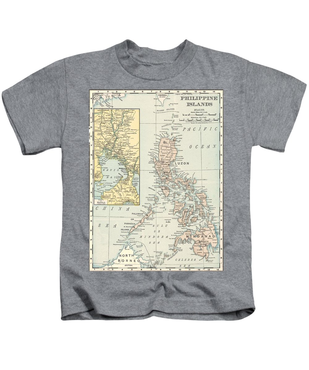 Antique Philippine Island Map Kids T-Shirt featuring the drawing Antique Maps - Old Cartographic Maps - Antique Map Of Philippine Islands And Manila Bay, 1898 by Studio Grafiikka