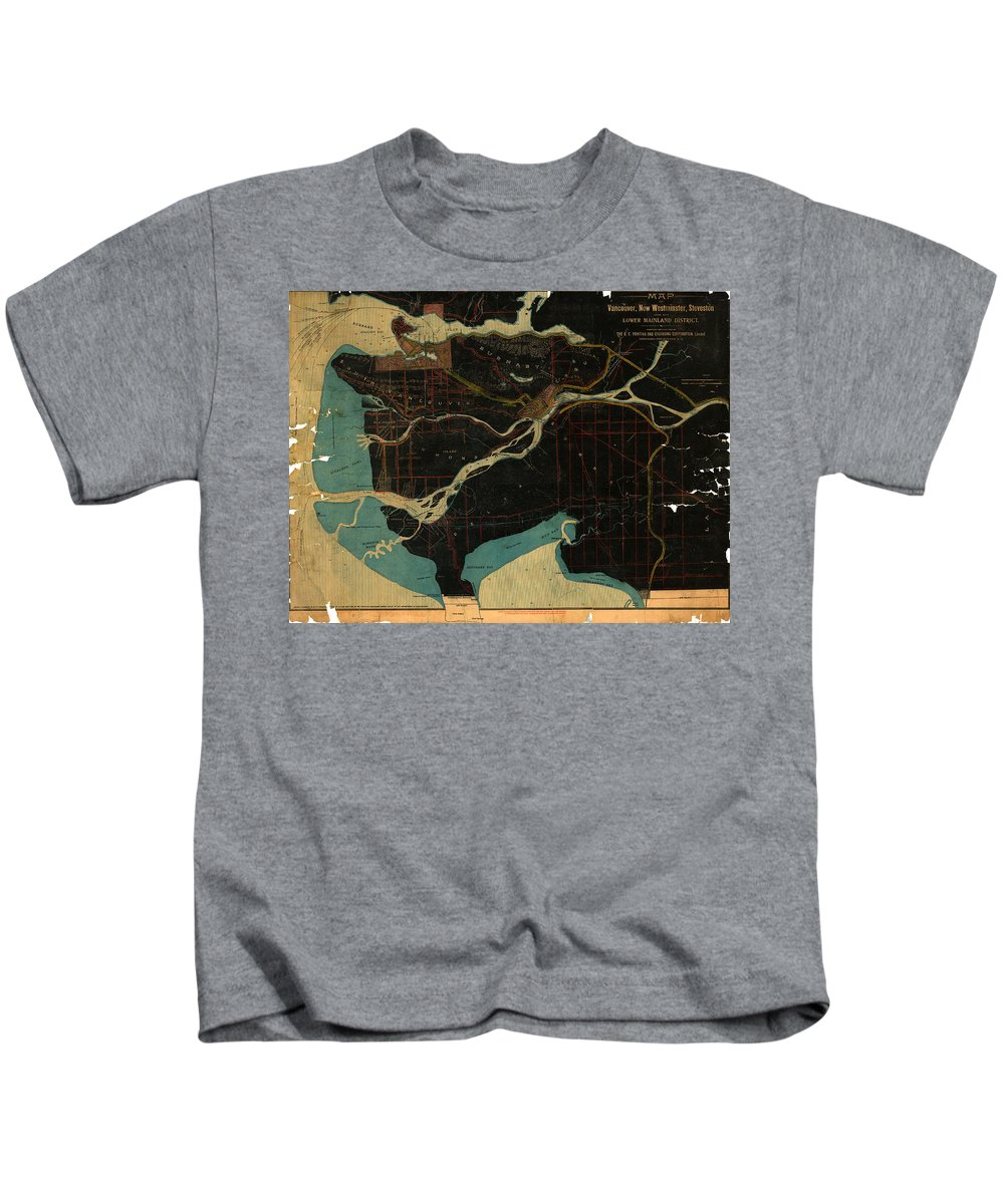 Antique Map Of Vancouver Kids T-Shirt featuring the drawing Antique Maps - Old Cartographic Maps - Antique Map Of Vancouver, New Westminster, Steveston by Studio Grafiikka