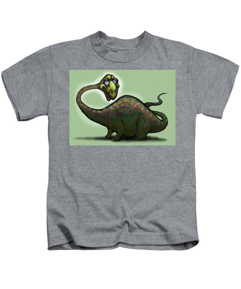 Apatosaurus Kids T-Shirt featuring the greeting card Apatosaurus Brontosaurus by Kevin Middleton