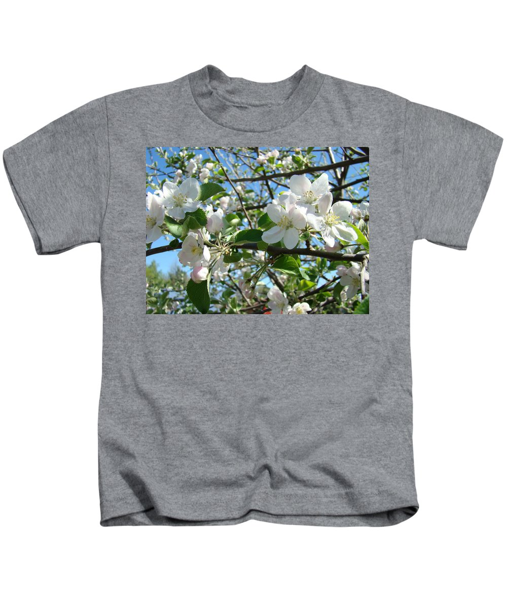 �blossoms Artwork� Kids T-Shirt featuring the photograph Apple Blossoms Art Prints 60 Spring Apple Tree Blossoms Blue Sky Landscape by Baslee Troutman