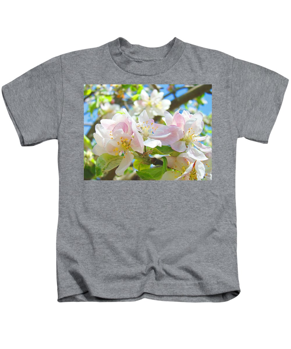 Apple Kids T-Shirt featuring the photograph Apple Blossoms Art Prints Spring Trees Baslee Troutman by Baslee Troutman
