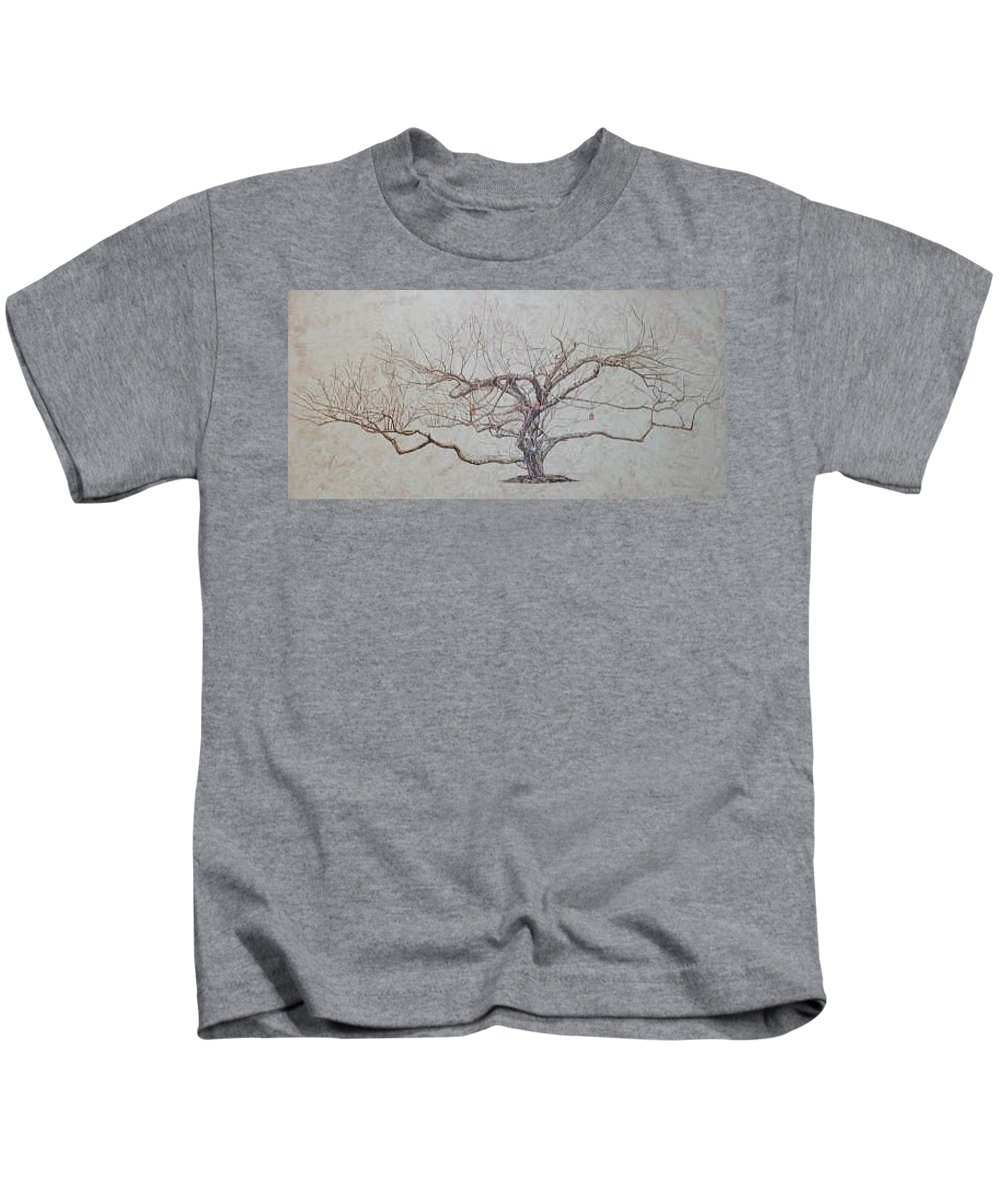 Apple Tree Kids T-Shirt featuring the painting Apple Tree In Winter by Leah Tomaino