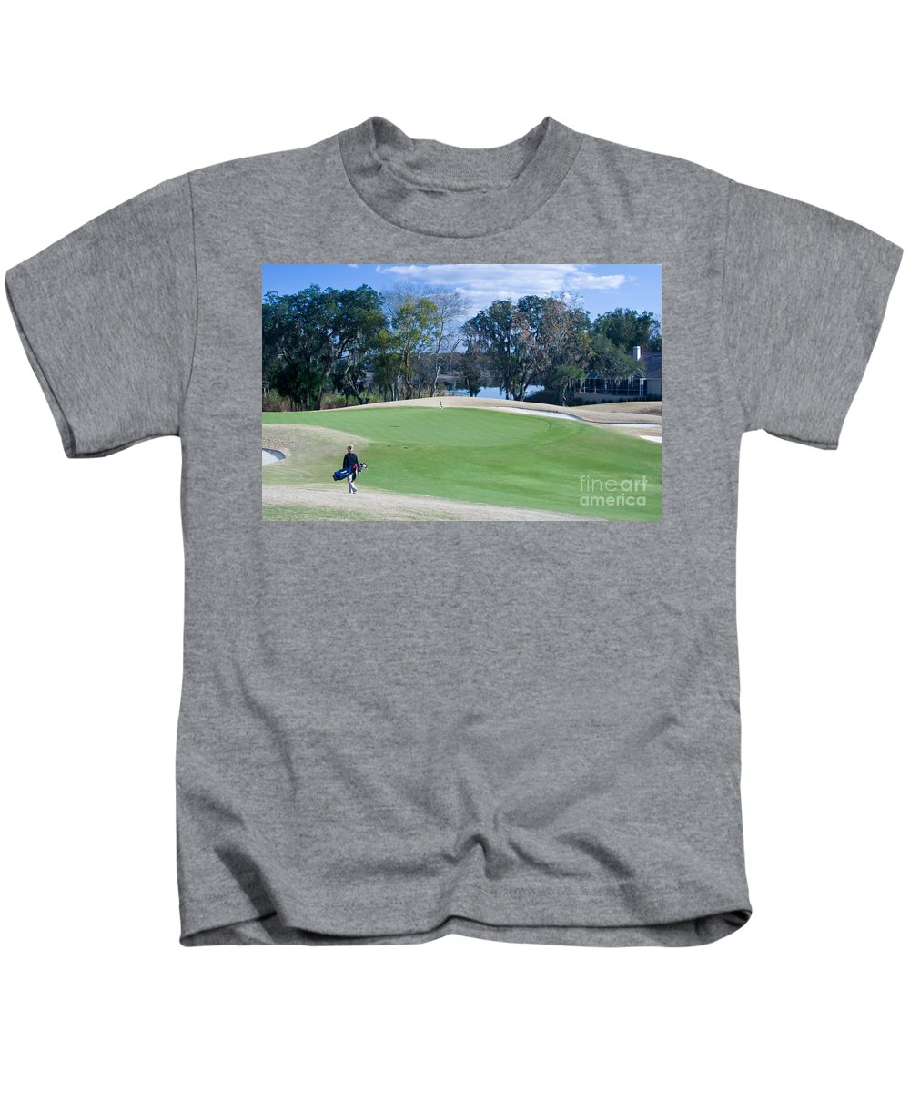 Golf Kids T-Shirt featuring the photograph Approaching The 18th Green by Thomas Marchessault