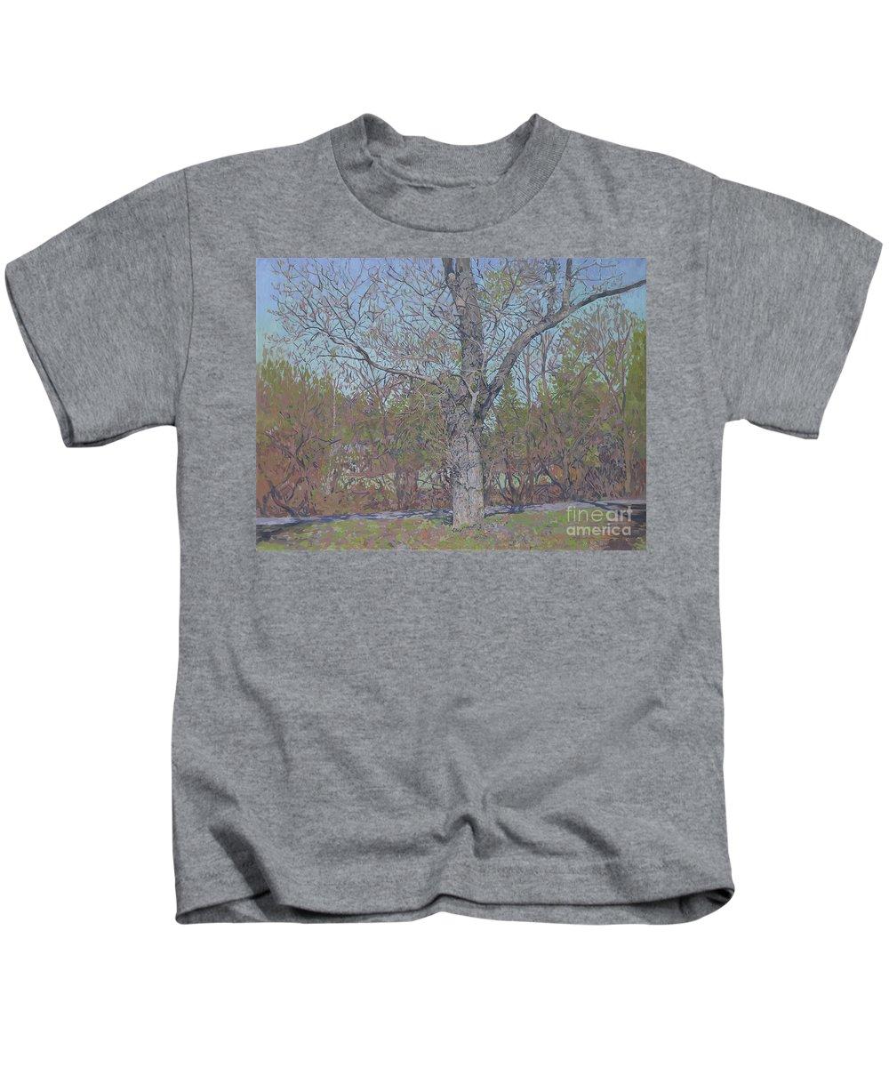 April Kids T-Shirt featuring the painting April by Simon Kozhin