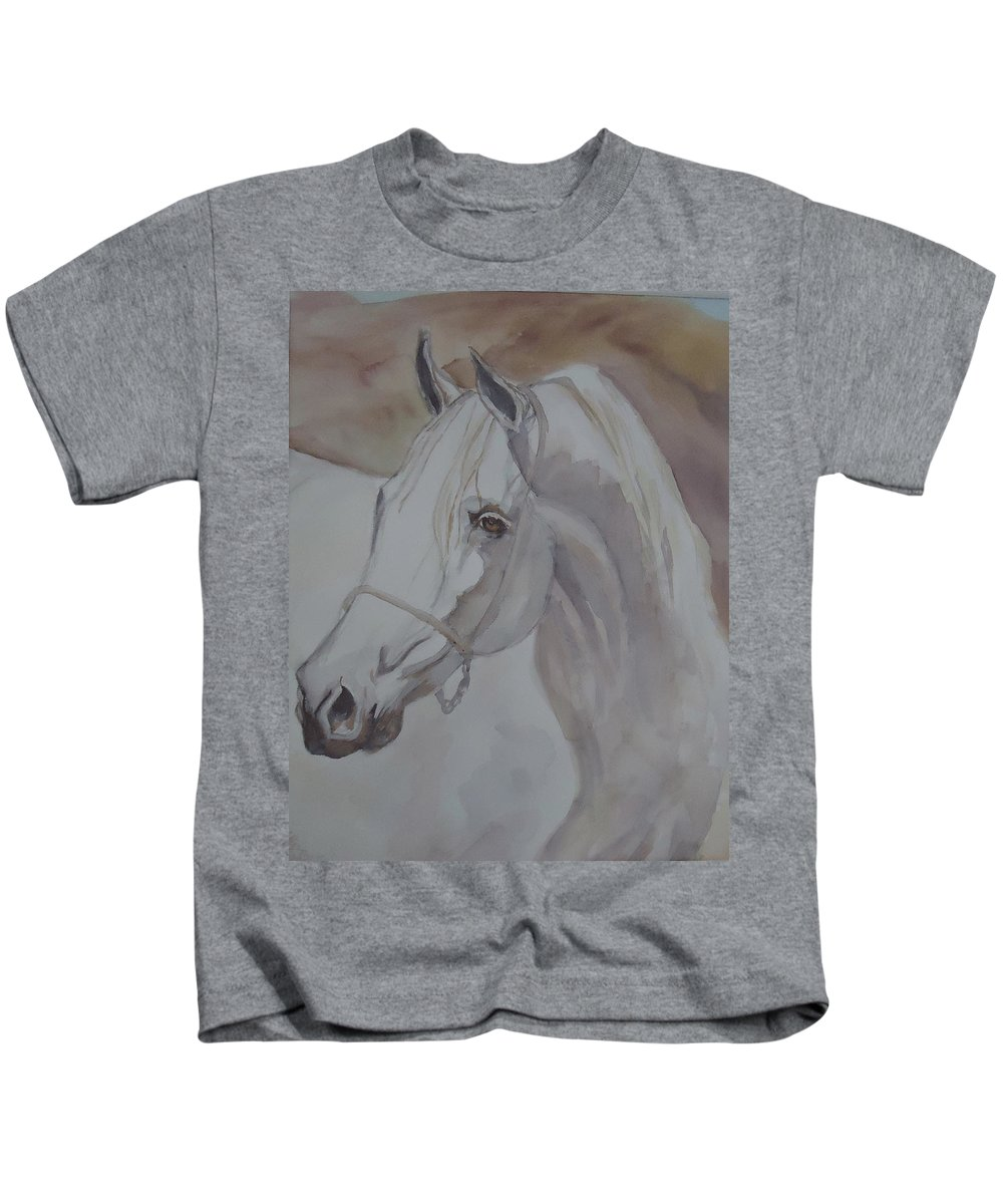 An Arabian Stallion In The Desert Dunes. Horse Kids T-Shirt featuring the painting Arab Stallion In The Desert by Charme Curtin