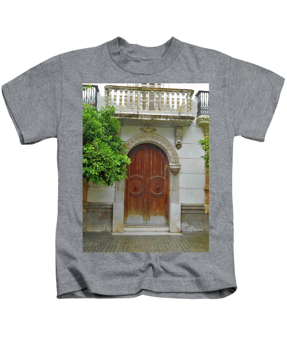 Landscape Kids T-Shirt featuring the photograph Arched Door Cadiz by Mark Victors