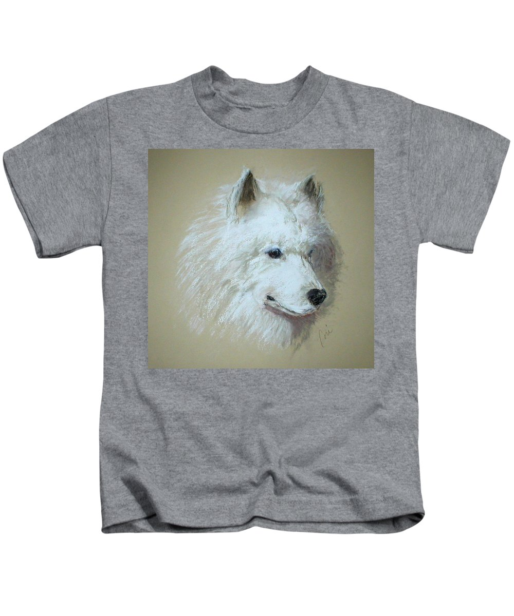 Dog Kids T-Shirt featuring the drawing Arctic Serenity by Cori Solomon