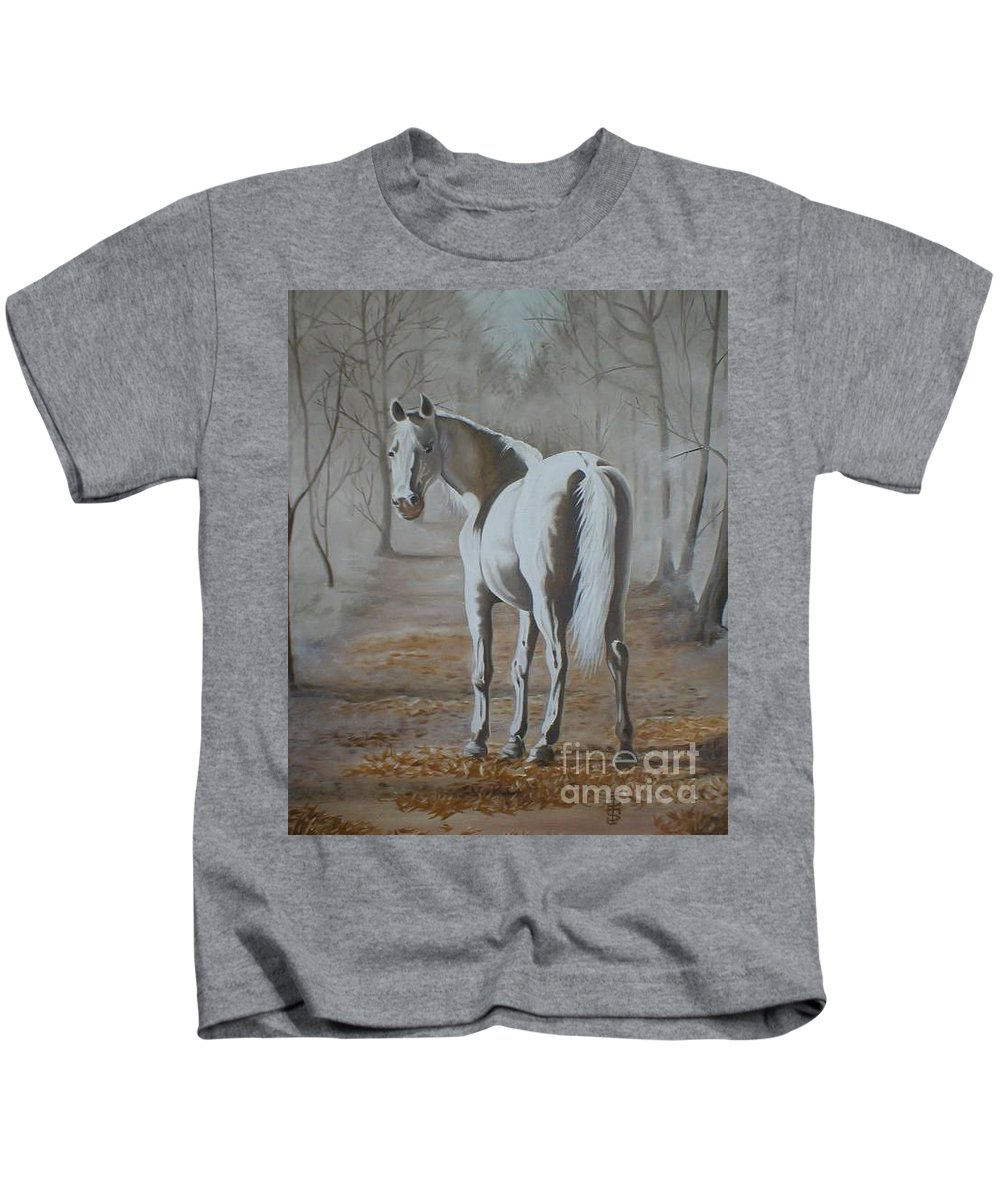 White Horse Looking Autumn Leaves Trees Avenue Shadows Kids T-Shirt featuring the painting Are You Coming by Pauline Sharp