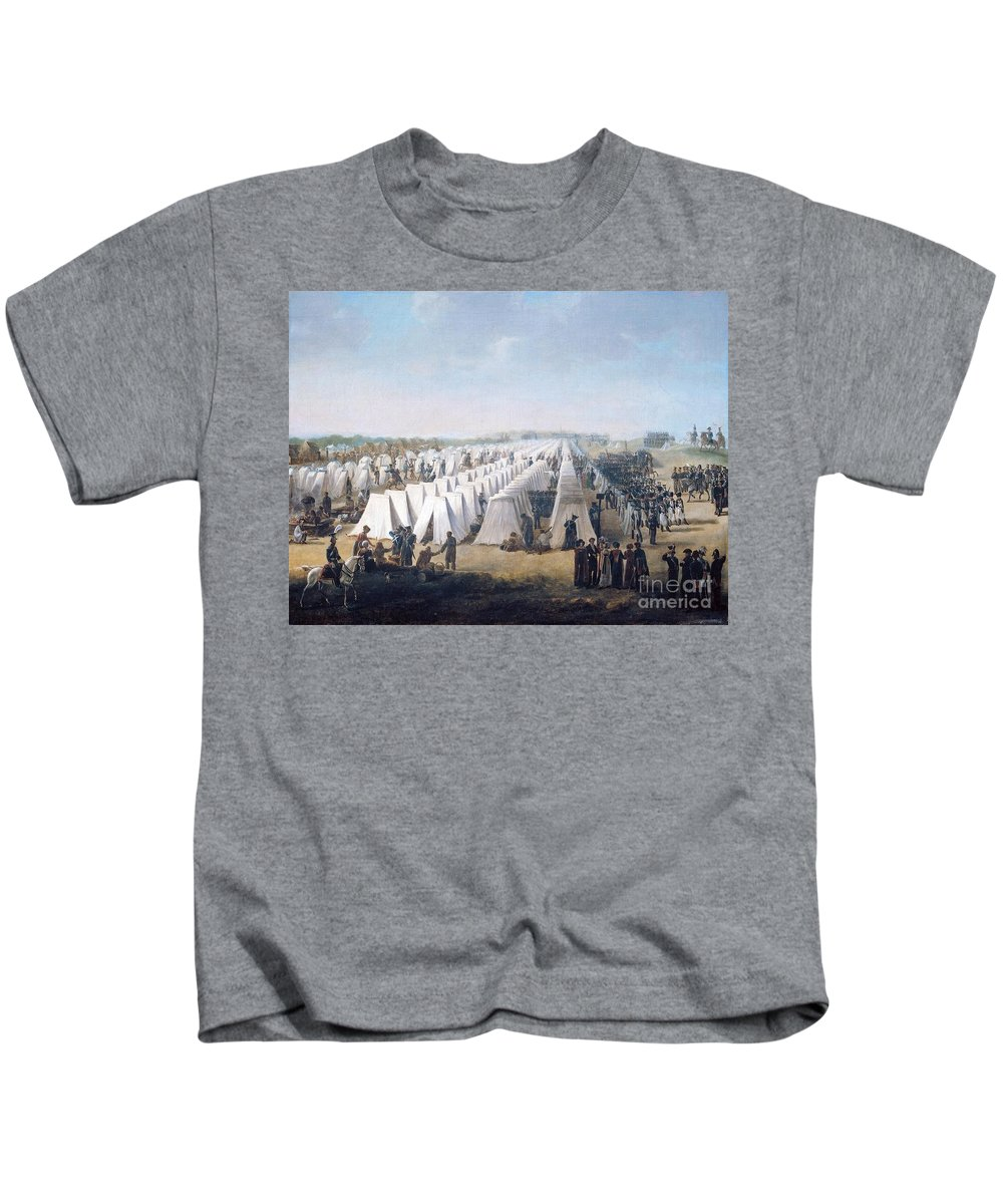 Horace Vernet - Army Camp In Rows 1831 Kids T-Shirt featuring the painting Army Camp In Rows by MotionAge Designs